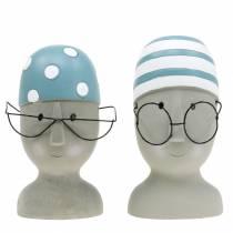 Decoratieve hoofdzwemmer met bril en badmuts blauw wit H15cm / 16cm 2st
