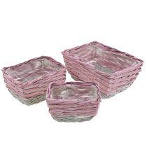 Vierkante mand, set van 3 natuurlijk roze