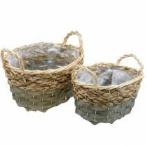 Gevlochten mand ovale plantenbak naturel, grijs 29 / 24cm, set van 2