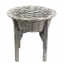 Mandkom met houten standaard grijs, wit gewassen Ø33cm