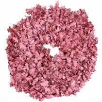 Krans van eikenbladeren roze gewaxt Ø38cm