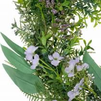 Decoratieve krans eucalyptus, varen, bloemen Kunstkrans Tafelkrans