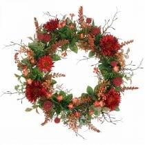 Herfstkrans zijden bloemen rode gerbera distel deurkrans Ø42cm