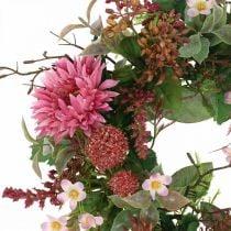 Herfstkrans zijden bloemen roze gerbera distel tafelkrans Ø32cm