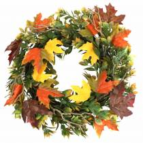 Krans van herfstbladeren kunstmatig groen, geel, oranje Ø45cm