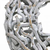 Decoratieve krans hout en twijgen gekalkt grijs houten krans groot Ø60cm