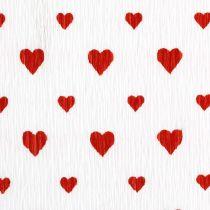 Crêpepapier met hartjes Bloemist crêpe Moederdag rood, wit 50 × 250 cm