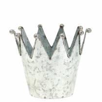 Sierpot kroon metaal zilver Ø13,5cm H11,5cm 2st