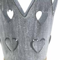 Zinkpot kroon hartjes gewassen grijs set Ø12 / 14cm