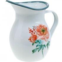 Sierkan, bloemenvaas vintage look, geëmailleerde kan met rozenmotief H19cm