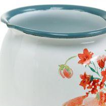 Decoratieve kruik met wilde rozen, geëmailleerde kruik, metalen vaas vintage look H12.5cm
