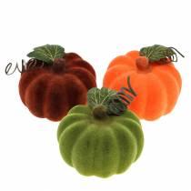 Mini pompoen flocked oranje, groen, rood Ø9cm 6st