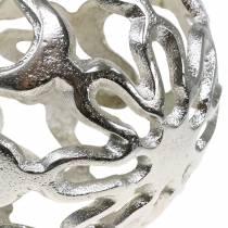 Decoratieve bol opengewerkt metaal zilver Ø15cm