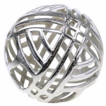 Decoratieve bal opengewerkte metaal zilver Ø20cm