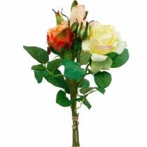 Kunstbloemen, boeket rozen, tafeldecoraties, zijden bloemen, kunstrozen geeloranje
