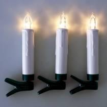LED boomkaarsen 10cm warm wit met afstandsbediening 10st
