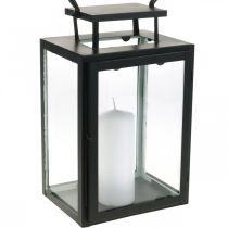 Decoratieve lantaarn zwart metaal, rechthoekige glazen lantaarn 19x15x30,5cm