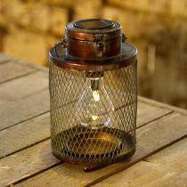Metalen lantaarn, solarlamp, LED, antieke optiek Ø13.5cm H28.5cm