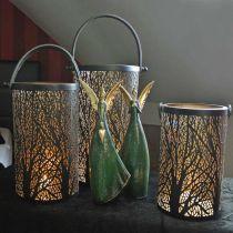 Metalen lantaarn, lantaarn met boom, herfstdecoratie, zwart, goud Ø20 / 19 / 14cm H23.5 / 17 / 12.5cm