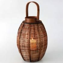 Gevlochten lantaarn, kaarsdecoratie, houten lantaarn met handvat Ø25cm H34,5cm