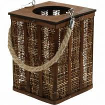 Lantaarn met gevlochten patroon, kaarsdecoratie om op te hangen, houten lantaarn H41cm