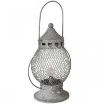 Metalen lantaarn, LED-lamp, Shabby Chic Ø16cm H33,5cm