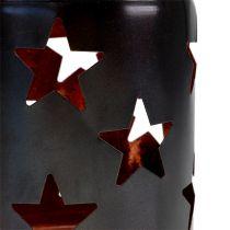 Lantaarn met sterpatroon zwart-koper Ø10cm H13.5cm