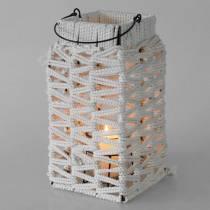 Lantaarn met handvat, kaarsversiering met macramé, lampenkap met gevlochten patroon H35,5 cm