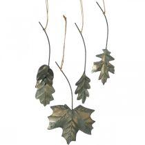 Bladeren metaal om antiek grijze herfstbladeren op te hangen 7,5-10cm 4st