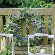 Mediterrane lavendelkrans Ø50cm, kunstbloemenkrans met lavendel en rozemarijn
