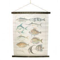 Decoratief rolschildering gemaakt van linnen met vis 60cm x 72cm
