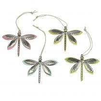 Libellen voor het ophangen van diverse kleuren 7 cm x 5,5 cm 28 stks