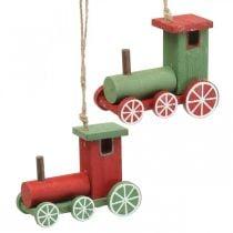 Locomotief kerstboomversiering hout rood, groen 8.5 × 4 × 7cm 4st