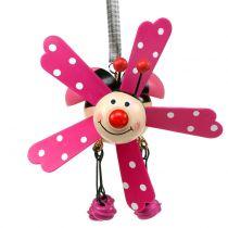 Windgong lieveheersbeestje hout roze 12cm