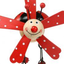 Windgong lieveheersbeestje hout rood 12cm