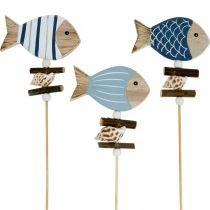Maritieme decoratieve pluggen, vissen en schelpen aan de stok, mariene decoraties, houten vissen 6st
