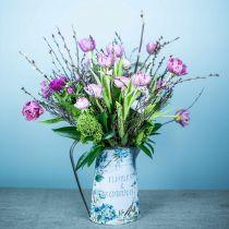 Bloemenvaas kruik bloemen blauw, groen tuindecoratie plantenbak metaal 23cm