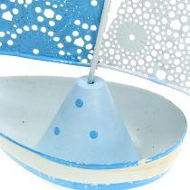 Decoratieve zeilboot gemaakt van metaal blauw, wit 12,5 cm x 20,5 cm 2 stks