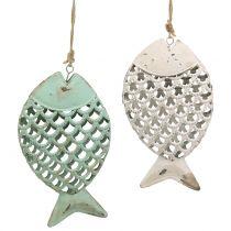 Decoratieve hangende vis groen / wit 17cm 2st