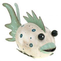 Decoratieve vis gemaakt van metaal groen, wit 18cm