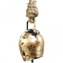 Metalen bellen om op te hangen, landhuisdecoratie, gouden koebellen, antieke look 5 × 3,5 cm 12st