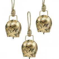 Bellen om op te hangen, mini koebellen, landhuis, metalen bellen goud, antiek look 7 × 5cm 12st