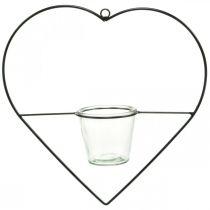 Lantaarn hart metaal 38cm theelichthouder om op te hangen met glas