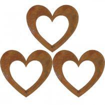 Hart roest tuindecoratie metalen hart 10cm 12st
