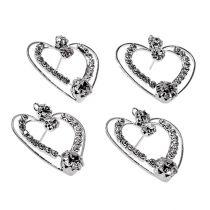 Metalen harten zilver 3cm 6st