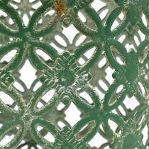 Metalen mand ovaal met handvat 25cm x 16,5cm H21cm groen