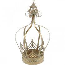 Decoratieve kroon om op te hangen, plantenbak, metalen decoratie, Advent goud, antiek look Ø19.5cm H35cm