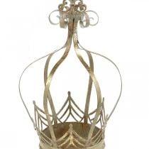 Metalen kroon, theelichthouder voor advent, plantenbak om goud op te hangen, antiek look Ø16.5cm H27cm