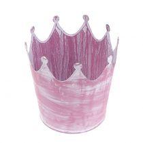 Metalen kroon roze gewassen wit Ø10cm H9cm 6st