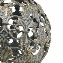 Bal om op te hangen met ornamenten antiek look goudkleurig metaal Ø12cm